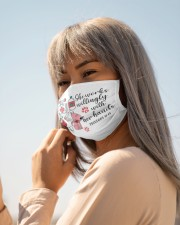 She works willingly with her hands Cloth face mask aos-face-mask-lifestyle-20