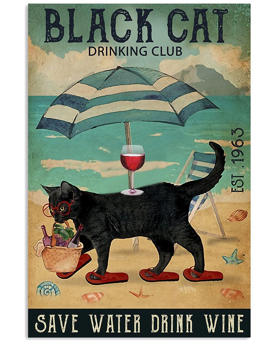 Black cat drinking club 11x17 Poster