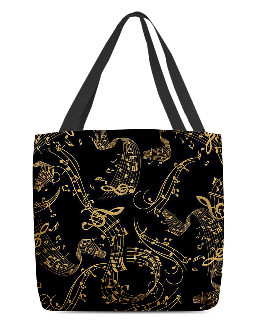 Gold Music Note All-over Tote