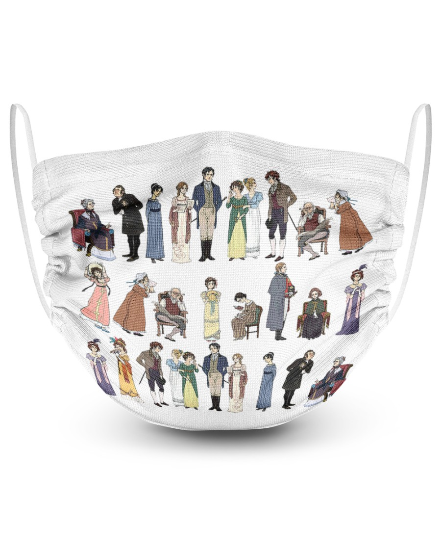 Pride and prejudice characters 2 Layer Face Mask - Single