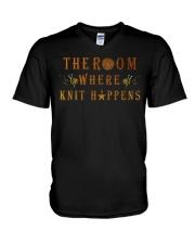 The room knit happens poster V-Neck T-Shirt thumbnail