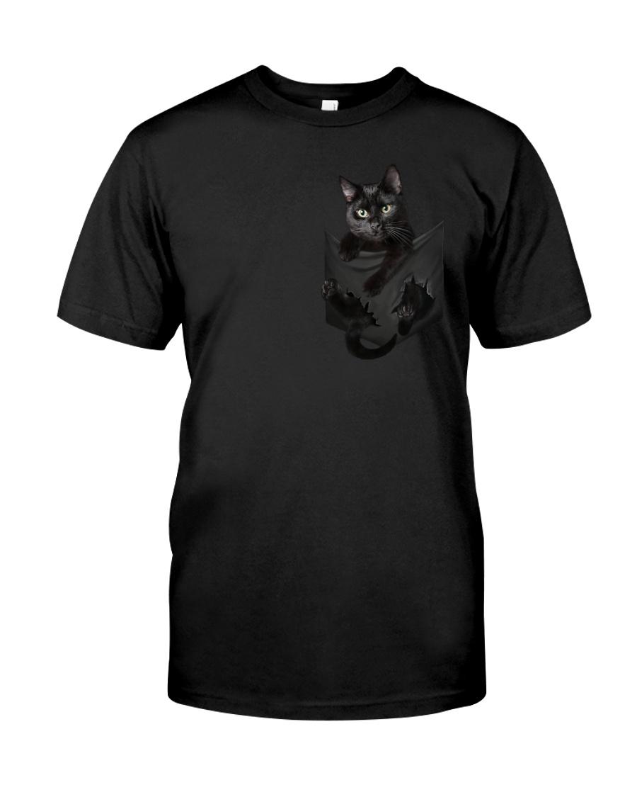 Black Cat in Pocket Classic T-Shirt