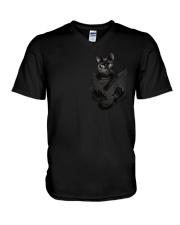 Black Cat in Pocket V-Neck T-Shirt thumbnail