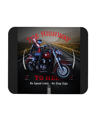 The Highway To Hell Biker Girl Mouse Pads Posters