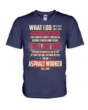 Asphalt Worker V-Neck T-Shirt thumbnail