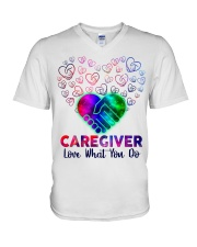Caregiver Love what you do  V-Neck T-Shirt thumbnail
