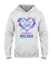 Just a Girl who Loves her Welder Hooded Sweatshirt thumbnail