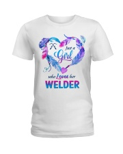 Just a Girl who Loves her Welder Ladies T-Shirt tile