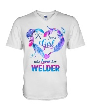 Just a Girl who Loves her Welder V-Neck T-Shirt tile