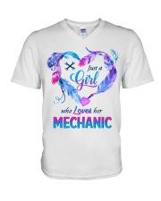 Just a Girl who Loves her Mechanic V-Neck T-Shirt thumbnail