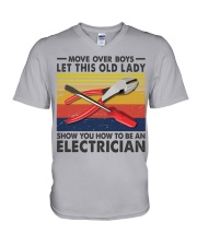 Old Lady will show how to be a Electrician V-Neck T-Shirt thumbnail