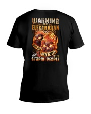 Electrician: Warning for Stupid People V-Neck T-Shirt thumbnail