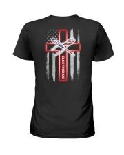 Proud American Electrician Flag Ladies T-Shirt tile