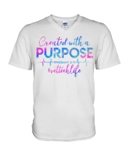 Vet Tech Created with a Purpose V-Neck T-Shirt thumbnail