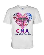 CNA Love what you do  V-Neck T-Shirt tile
