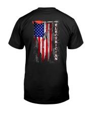 Proud American Electrician Flag Classic T-Shirt back