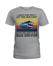 Old Lady will show how to be a Bus Driver Ladies T-Shirt front