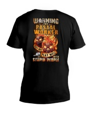 Postal Worker: Warning for Stupid People V-Neck T-Shirt tile