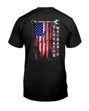 Proud American Elevator Mechanic Flag Classic T-Shirt back