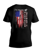 Proud American Elevator Mechanic Flag V-Neck T-Shirt thumbnail