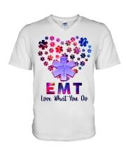 EMT Love what you do  V-Neck T-Shirt tile