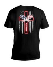 Proud American Plumber Flag V-Neck T-Shirt tile