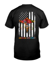 Proud American Medical Assistant Colourful Flag Classic T-Shirt back