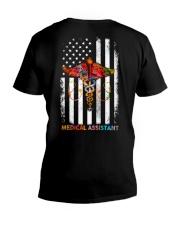 Proud American Medical Assistant Colourful Flag V-Neck T-Shirt tile