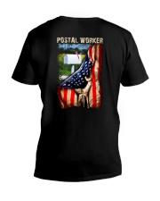 Proud American Postal Worker Flag V-Neck T-Shirt tile