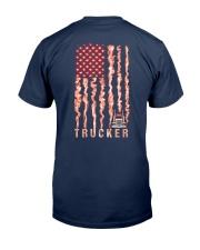 Proud American Trucker fire flag Classic T-Shirt back