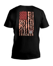 Proud American Trucker fire flag V-Neck T-Shirt thumbnail