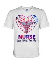 Nurse Love what you do  V-Neck T-Shirt tile