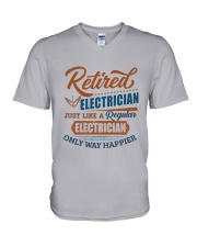 Retired Electrician only way happier V-Neck T-Shirt thumbnail