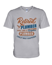 Retired Plumber only way happier V-Neck T-Shirt thumbnail