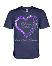 Peace Love Childcare Provider V-Neck T-Shirt thumbnail