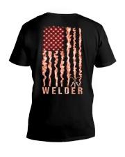 Proud American Welder Flag V-Neck T-Shirt tile