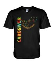 Caregiver: Love what you do V-Neck T-Shirt tile