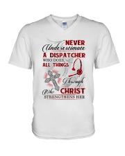 Never Underestimate a Dispatcher V-Neck T-Shirt tile