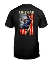 Proud American Lineman Flag Classic T-Shirt back