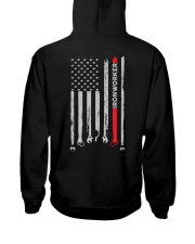 Proud American Ironworker Flag Hooded Sweatshirt back