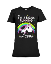 I'M A BADASS RUNNING UNICORN Premium Fit Ladies Tee tile