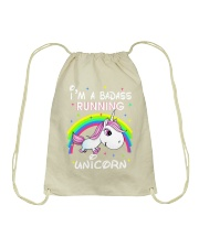 I'M A BADASS RUNNING UNICORN Drawstring Bag thumbnail