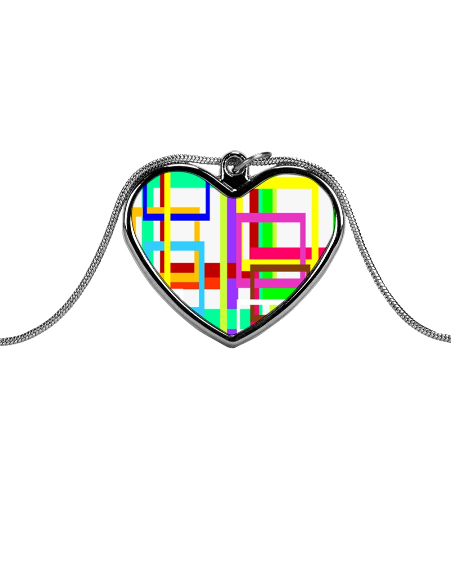 Psychedelic Metallic Heart Necklace