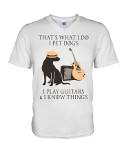 GUITAR and DOG V-Neck T-Shirt thumbnail