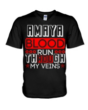 AMAYA Blood Run Through My Veins V-Neck T-Shirt thumbnail