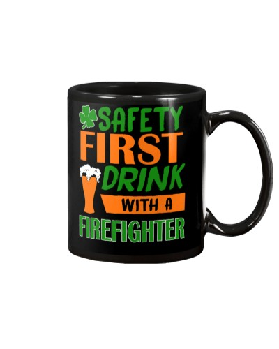 Safety Drink With A Firefighter