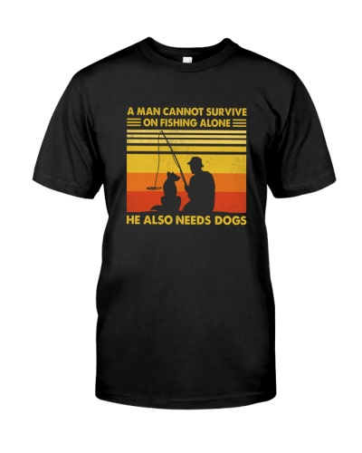 Man cant fishing alone he also needs dogs