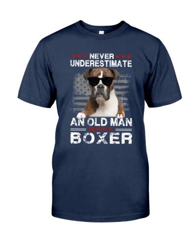 Never Underestimate Boxer American Flag