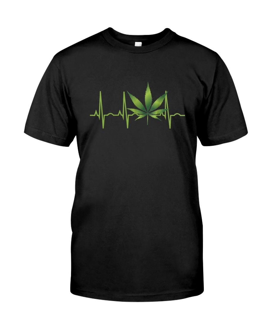 Marijuana Leaf Heartbeat Classic T-Shirt