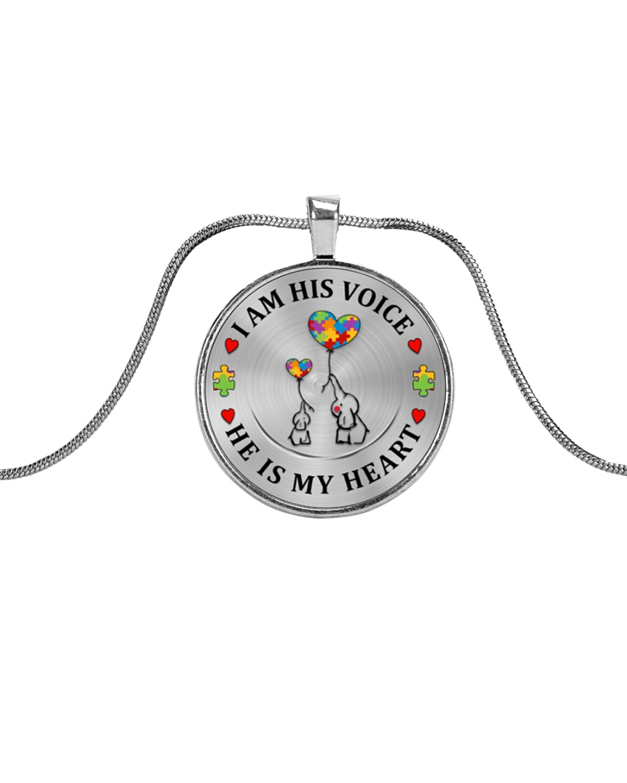 I Am His Voice He Is My Heart Metallic Circle Necklace